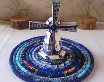 Bohemian Coiled Blue Mat, Hot Pad, Trivet - Handmade by Me