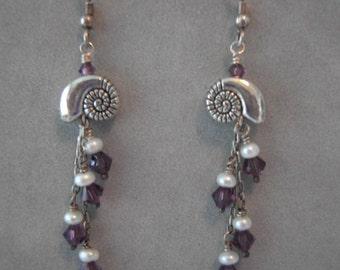 Hand Made Nautilus and Swarovski Earrings
