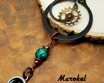 Hashtag Industrial Necklace Retaining ring Gears Charm wire Wrapped Copper