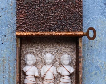 "Assemblage Found Object Shrine Shadow Box  ""The Girls"" Frozen Charlotte Dolls"