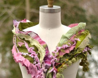Long green pink Scarf, boho unique fantasy wrap, refashioned Spring accessory. US shipping FREE