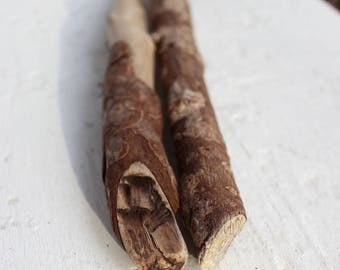 Driftwood Sticks with Bark for Rustic and Boho Art / Home Decor Projects 2 Piece set BH2