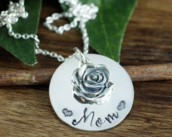 Mothers Charm Necklace, Mom Necklace, Mother's Necklace, Personalized Mom Necklace, Mommy Jewelry,  Rose Necklace, Mothers Day Gift
