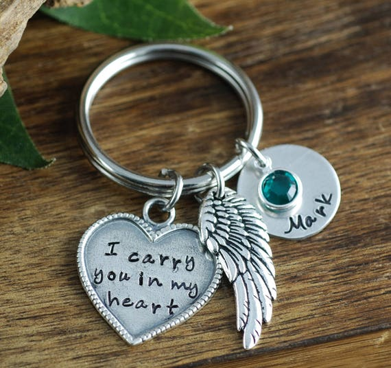 Memorial Keychain, I Carry you in my heart Keychain, Remembrance Keychain, Bereavement Jewelry, Loss of Loved One, Memorial Keychain