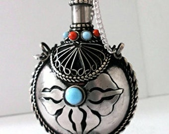 Chinese Snuff Bottle Miao Tibetan Silver Gypsy Inlaid Tribal Turquoise & Coral Colored Stones