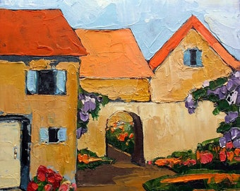 Lynne French Painting PROVENCE Courtyard GARDEN Villas Impressionist Landscape Art 12x12