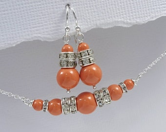 Coral Jewelry Set, Coral Pearl Bridesmaid Gift, Swarovski Bridesmaid Jewelry Set, Coral Jewelry, Coral Wedding Jewelry Set, Orange Wedding