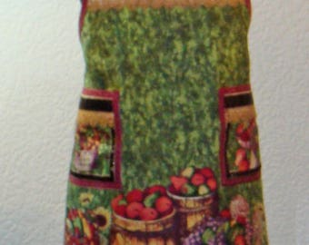 Women's Fruit Baskets And Sunflowers Fall Harvest Butcher Style Apron