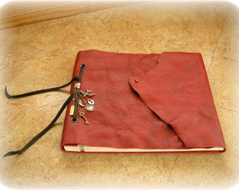 "Leather covered journal, red leather sketch book, journal, photo book, book of shadows, with crystal & charms,  8.5"" x 7.5"", 20 pages"