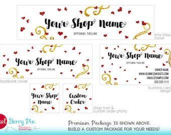 Glittery Gold & Red Valentine Hearts // Etsy Shop Banner Branding Package // Happy Valentine's Day design