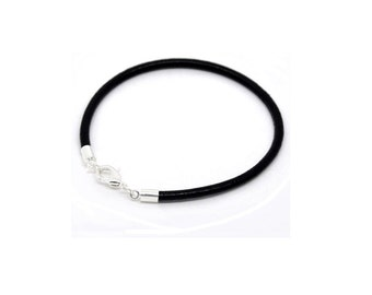 Black Leather Bracelet , Genuine 3mm  Black Leather  ,  Stacking Bracelet  ,   Simple Leather Bracelet,