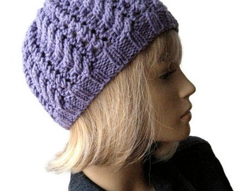 Lavender Cables and Lace Knit Beanie Hat, Lilac Vegan Hat, Knit Hat, Mothers Day Gift, Scarlett Hat, Womens Accessories Knitted Hat