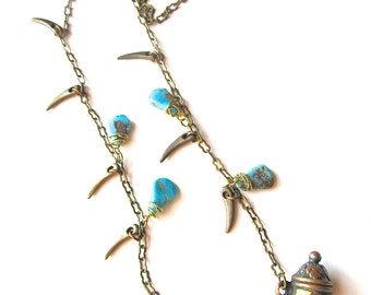 Vintage Powder Horn Pendant Necklace w Turquoise and Brass