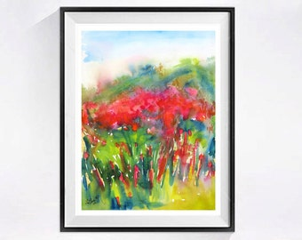 Abstract Floral Painting Print Abstract Landscape Modern wall art Abstract field Mountain meadow Red painting green wall art A