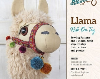 Llama Ride-on Toy Stick Horse Sewing Pattern and Tutorial Includes Two Sizes