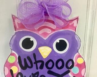 SAMPLE SALE - Whooo Loves You Owl Door Hanger - Bronwyn Hanahan Art