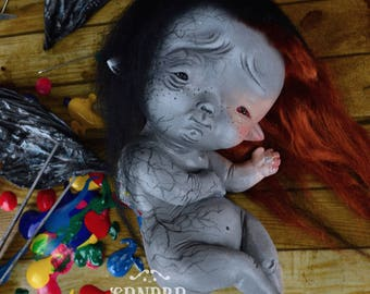 RESERVED - Discoloration - art doll ooak pure sculpt little sad fairy fairies fairy tales creature fantasy creature fantasy doll