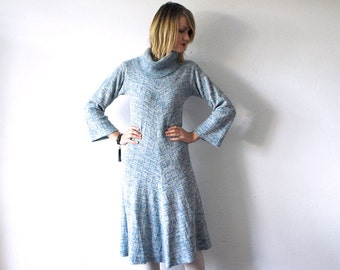 SALE...70s knit dress. pastel blue dress. knit winter dress. cowl neck dress - small to medium