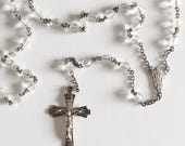 Antique Art Deco Rosary with Clear Glass Beads Sterling Silver Crucifix and Christ's IHS Monogram Center