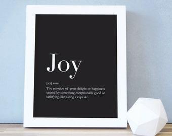 Joy Poster, Dictionary Style Print, Black Minimalist, Joy Definition, Funny Wall Art, Typography, Kid Decor, Kids Room, Art Print. Joy Print