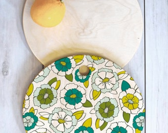 Floral Cutting Board // Birch Wood // 3 Sizes // Round, Square, Rectangular // Kitchen Decor // Serving Board // Tropical Bloom Design