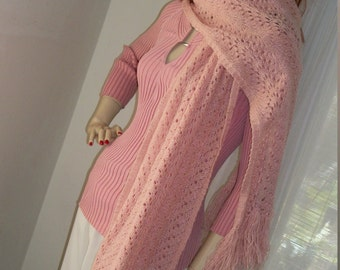 1960s Vintage Handmade Lacey Pink Crochet Shawl with Fringe One Size Mint Cond Sparkly Metallic Threads Very Pretty and Warm