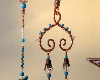 Spiraled Copper Glass Beaded Sun Catching Mobile Wind Chime