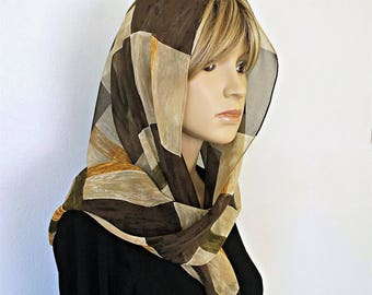 Vintage Scarf Designer Anne Klein 1980's Golden Olive Green Brown Long Scarf Oblong Scarf