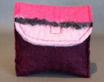 Handmade felt, pink/burgundy coin purse. Designer made. OAK