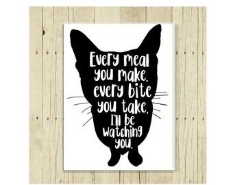Cat Magnet,  Cat Love, Cat Art, Funny Cat, Cat Print, Cat Lover Gift, Kitten Art, Cat Silhouette, Cat Silhouette, Cat Quote, Cat Gift