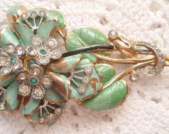 Vintage Art Deco Pin Green Enamel Clear Rhinestones 1930's Stylized Floral Spray Brooch Summer Flowers Costume Jewelry
