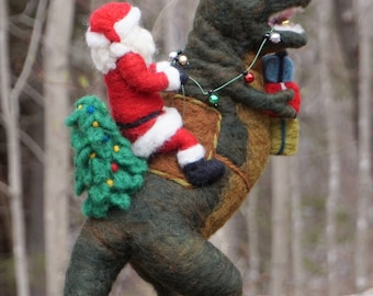 Needle Felted T-Rex Dinosaur and Santa Claus - Needle Felted T Rex Wool Father Christmas And Animal Soft Sculpture