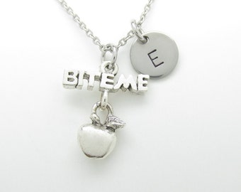 Bite Me Apple Necklace, Apple Charm Necklace, Personalized, Initial Necklace, Silver Apple Charm, Monogram Necklace, Apple Pendant Y425