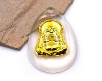 Buddha Pendant, 2 pcs, Resin Charms, Gold  Buddha, Buddhist Pendants, Amulets -P316