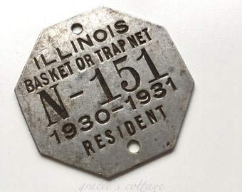 1930 -31 Trap Tag Illinois N - 151 Vintage  Basket or Trap Net Resident Tag