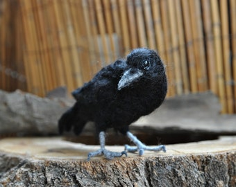 Needle Felted  bird. Black crow.