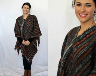 Vintage Wool Poncho Ethnic - Striped Fringe - XS Small Medium - One Size