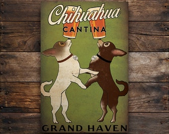 Double Chihuahua CUSTOM Personalized Cantina Cerveza BEER Brewing Company Gallery Wrapped Wall Art  Ready-To-Hang Stretched Canvas