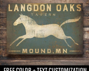 HORSE FREE Text Customization TAVERN Sign Stretched Canvas Graphic Wall Art Sign  - Ready-to-Hang -  Signed