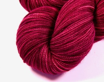 Hand Dyed Yarn - Sock Weight Superwash Merino Wool Yarn - Plumberry Semi-Solid - Fingering Knitting Yarn, Sock Yarn, Red Violet Berry