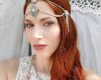 Art Deco Crystal Headpiece w/ Vintage Rhinestones - Handmade One of a Kind Bridal Headdress, 1930s 1920s Wedding, Dance, Formal, Burlesque
