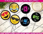 Emoji Cupcake Toppers - Emoji Party, Emoji Theme - Party Decorations - Emoji Gift Tags   INSTANT download DIY Printable PDF Kit