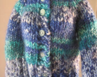 Hand Knit Sweater Doll Clothes Blue Shades design stripe fits 16 inch fashion doll such as Tonner Tyler