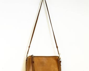 Vintage 1980s Camel All Leather Shoulder Bag