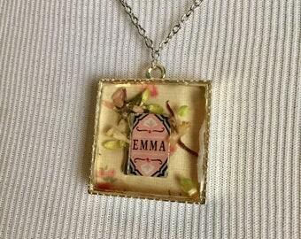Emma - Jane Austen Book Square Silver Necklace
