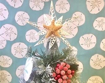 Christmas Tree Star Topper - All Natural Shells and Starfish - beach decor coastal star fish coastal ocean nautical