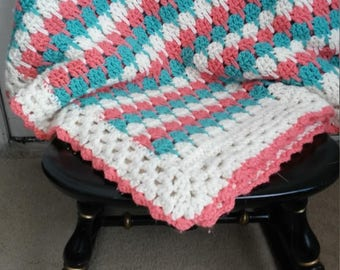 Large Crocheted Afghan Blanket, Coral, Seafoam and White