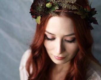 Succulent crown, boho flower crown, rustic floral hair wreath, fern headpiece, woodland wedding hair crown, rose circlet, hair accessories