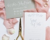 grey watercolor calligraphy custom save the date