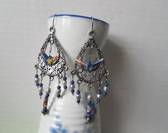 Origami crane earrings of blue paper in silver hoop with stone beads